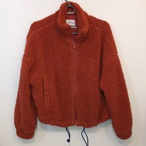 Urban Outfitters Sherpa Jacket in Terra Cotta